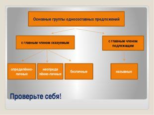 Основные группы односоставных предложений с главным членом сказуемым с главны
