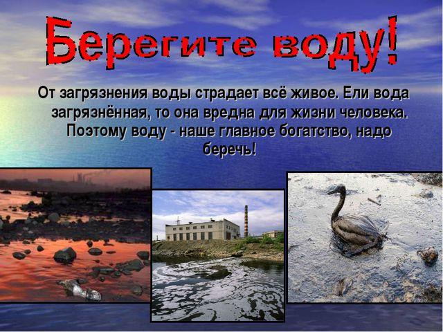 От загрязнения воды страдает всё живое. Ели вода загрязнённая, то она вредна...