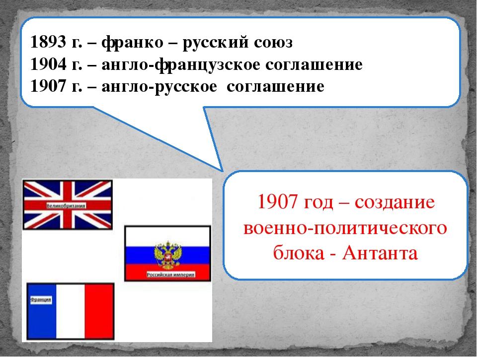 1893 г. – франко – русский союз 1904 г. – англо-французское соглашение 1907 г...