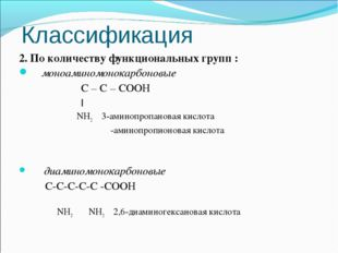 Классификация 2. По количеству функциональных групп : моноаминомонокарбоновые
