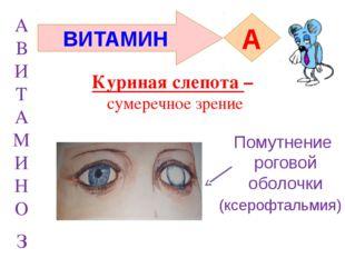 А В И Т А М И Н О з ВИТАМИН A (ксерофтальмия) Помутнение роговой оболочки Кур