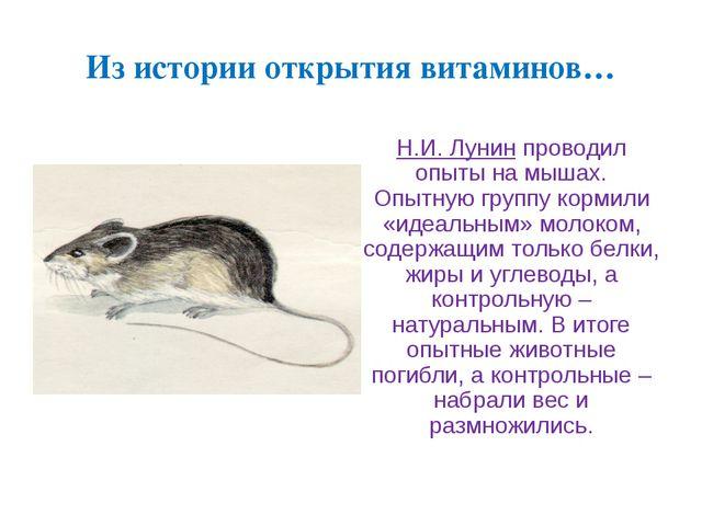 Из истории открытия витаминов… Н.И. Лунин проводил опыты на мышах. Опытную гр...