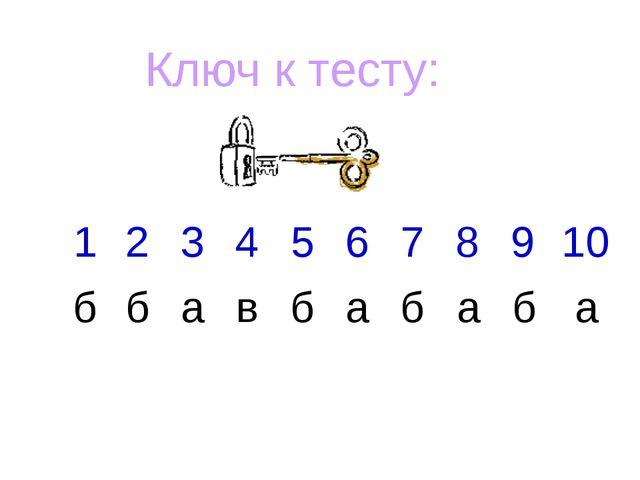 Ключ к тесту: 1 2 3 4 5 6 7 8 9 10 б б а в б а б а б а
