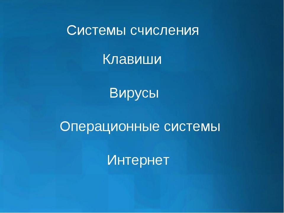 Системы счисления Клавиши Вирусы Операционные системы Интернет