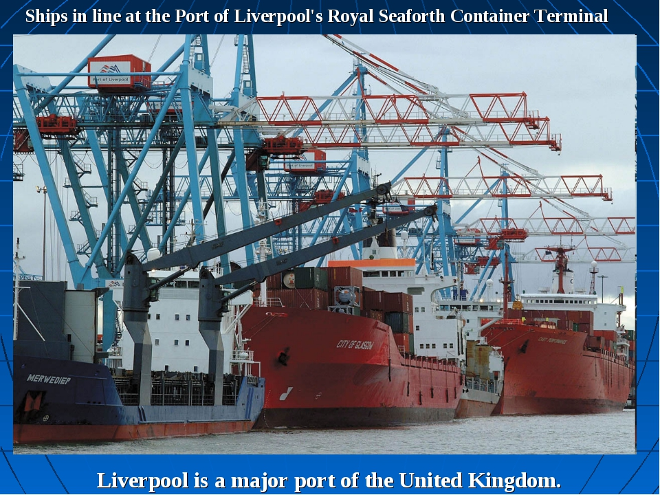 Ships in line at the Port of Liverpool's Royal Seaforth Container Terminal Li...