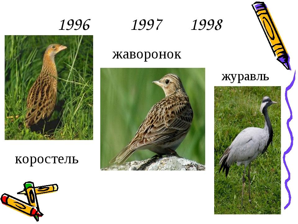 1996 1997 1998 коростель жаворонок журавль