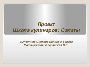 Проект Школа кулинаров: Салаты Выполнила Силкина Полина 3-в класс Руководител
