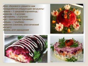 Для «базового» рецепта нам понадобятся следующие продукты: свекла – 1 средний