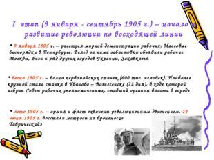 I этап (9 января - сентябрь 1905 г.) – начало и развитие революции по восходя