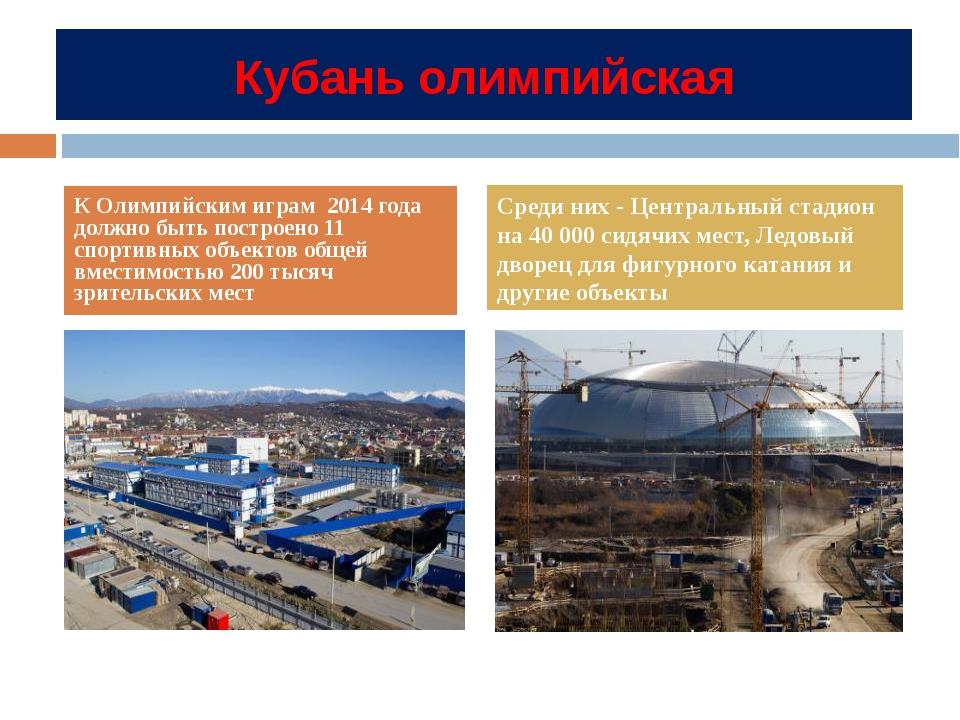Кубань олимпийская К Олимпийским играм 2014 года должно быть построено 11 спо...