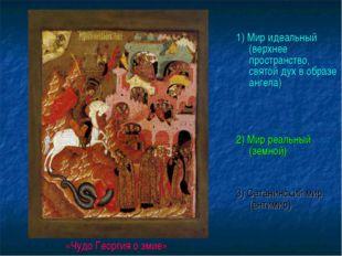 1) Мир идеальный (верхнее пространство, святой дух в образе ангела) 2) Мир р