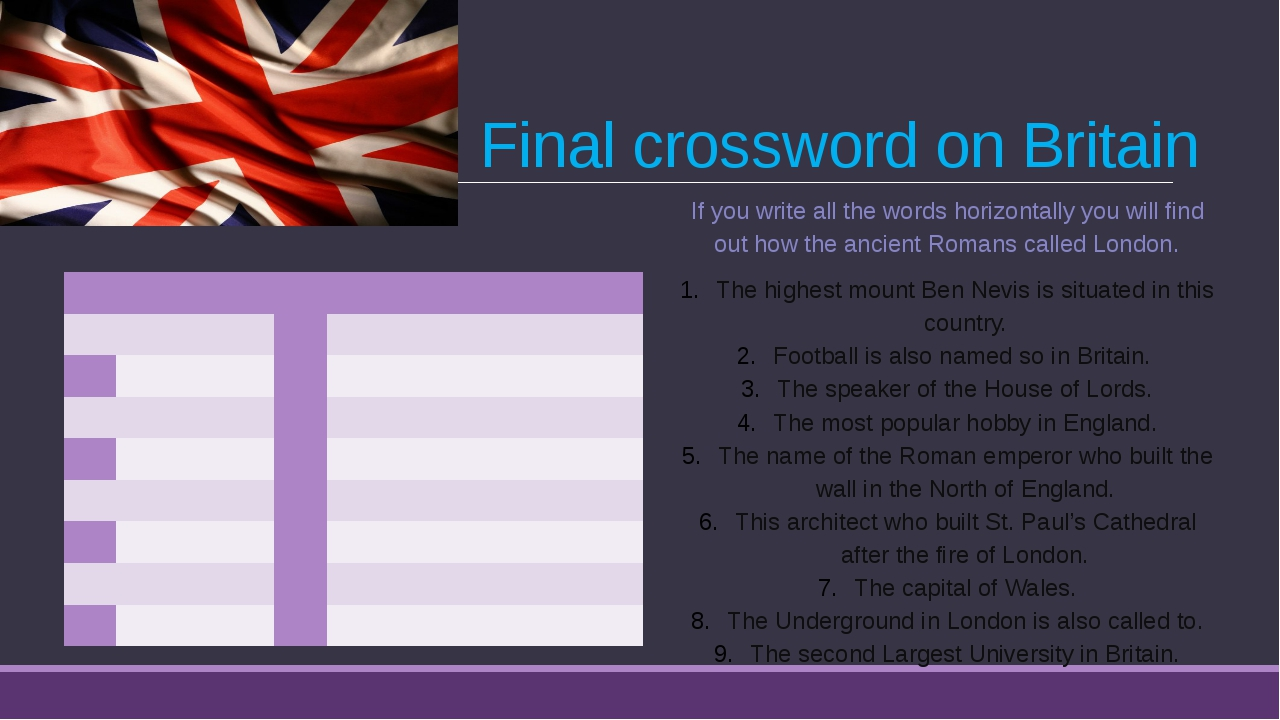 Final crossword on Britain If you write all the words horizontally you will f...