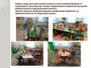 Модель среды для групп раннего возраста строго конкретизирована по содержанию