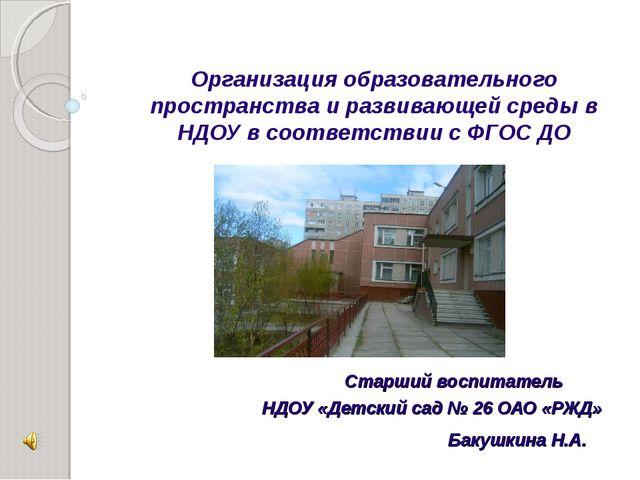 Организация образовательного пространства и развивающей среды в НДОУ в соотв...
