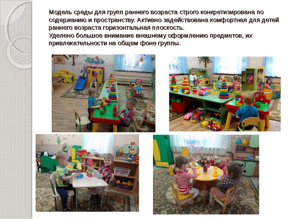 Модель среды для групп раннего возраста строго конкретизирована по содержанию...