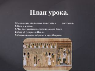 1.Поклонение священным животным и растениям. 2. Боги и жрецы. 3. Что рассказы