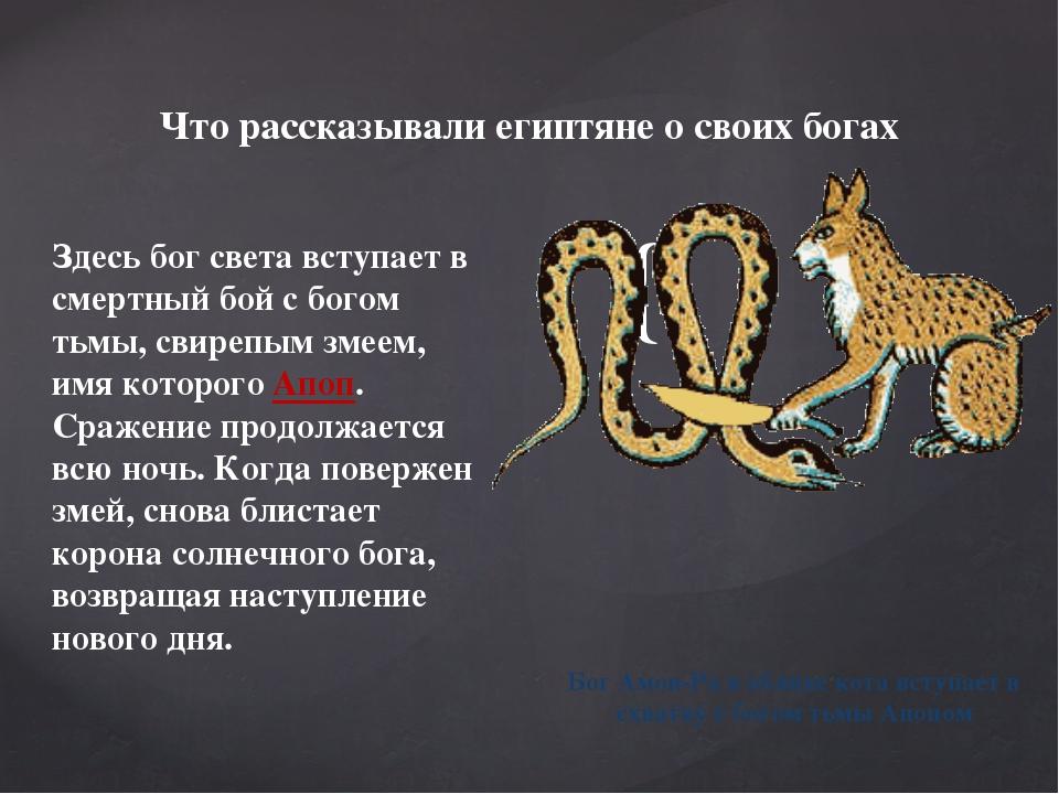 Здесь бог света вступает в смертный бой с богом тьмы, свирепым змеем, имя кот...