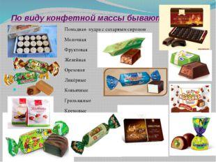 По виду конфетной массы бывают: Помадная- пудра с сахарным сиропом Молочная Ф