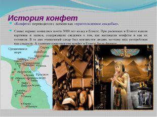 История конфет «Конфета» переводится с латыни как «приготовленное снадобье».