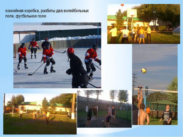 хоккейная коробка, разбиты два волейбольных поля, футбольное поле