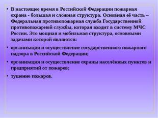 В настоящее время в Российской Федерации пожарная охрана - большая и сложная
