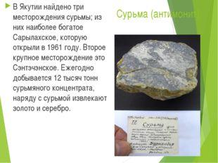 Сурьма (антимонит). В Якутии найдено три месторождения сурьмы; из них наиболе