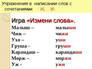 Игра «Измени слова». Упражнения в написании слов с сочетаниями ЖИ, ШИ. Малыш