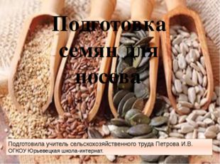 Подготовка семян для посева. Подготовила учитель сельскохозяйственного труда
