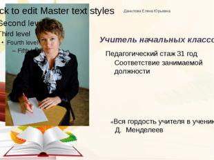 Данилова Елена Юрьевна Учитель начальных классов Соответствие занимаемой дол