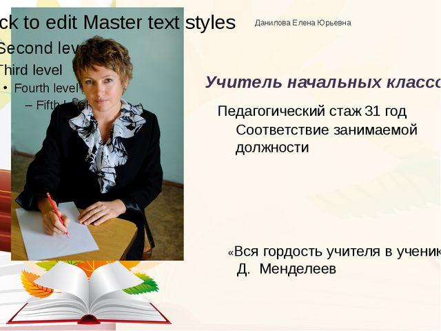 Данилова Елена Юрьевна Учитель начальных классов Соответствие занимаемой дол...