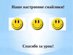 Наше настроение смайлики! Спасибо за урок!