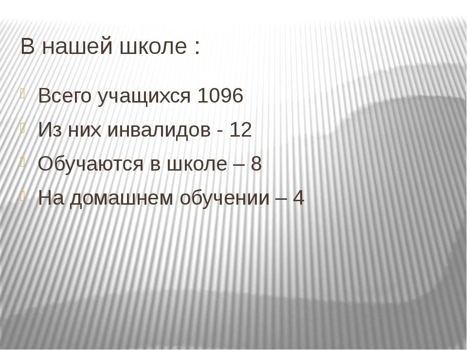 В нашей школе : Всего учащихся 1096 Из них инвалидов - 12 Обучаются в школе –...