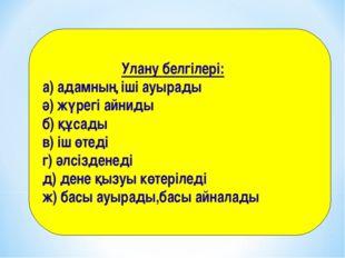 Улану белгілері: а) адамның іші ауырады ә) жүрегі айниды б) құсады в) іш өте
