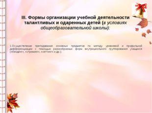 III. Формы организации учебной деятельности талантливых и одаренных детей (в