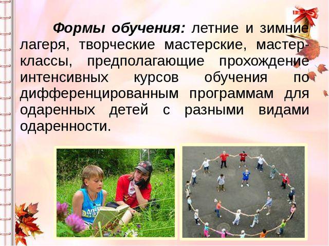 Формы обучения: летние и зимние лагеря, творческие мастерские, мастер-класс...