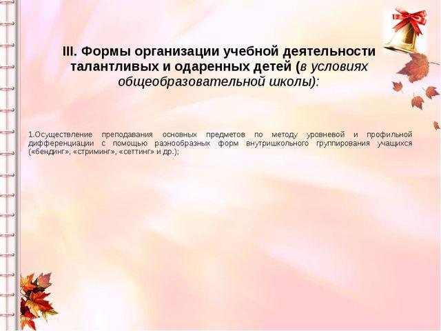 III. Формы организации учебной деятельности талантливых и одаренных детей (в...