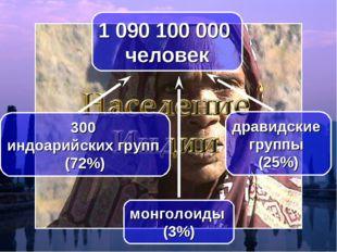 1 090 100 000 человек 300 индоарийских групп (72%) дравидские группы (25%) мо