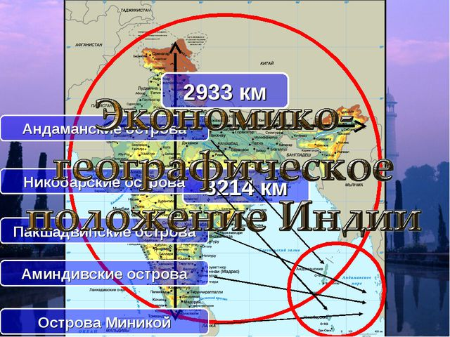 2933 км 3214 км Андаманские острова Никобарские острова Пакшадвипские острова...