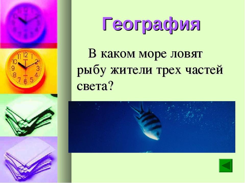 География В каком море ловят рыбу жители трех частей света?