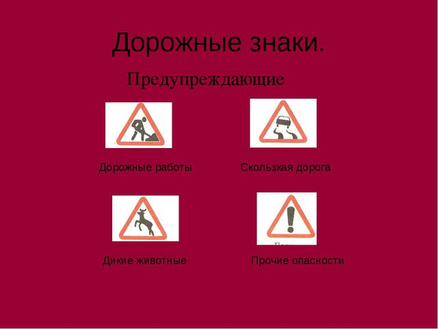 Дорожные знаки. Предупреждающие Скользкая дорога Дорожные работы Дикие животн...