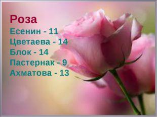 Роза Есенин - 11 Цветаева - 14 Блок - 14 Пастернак - 9 Ахматова - 13