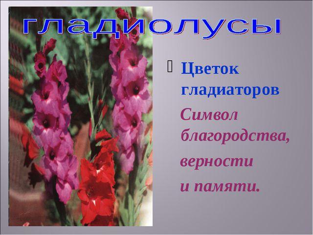 Цветок гладиаторов Символ благородства, верности и памяти.