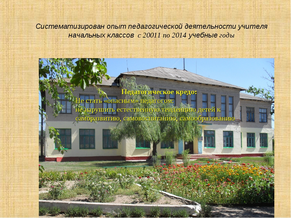 Систематизирован опыт педагогической деятельности учителя начальных классов с...