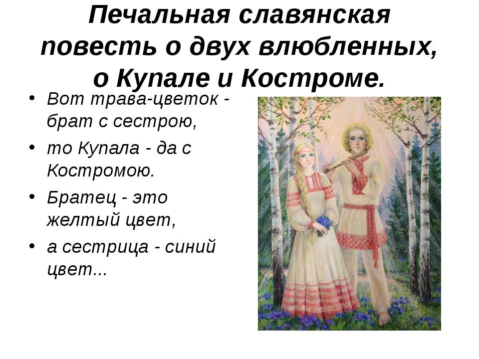 Печальная славянская повесть о двух влюбленных, о Купале и Костроме. Вот трав...