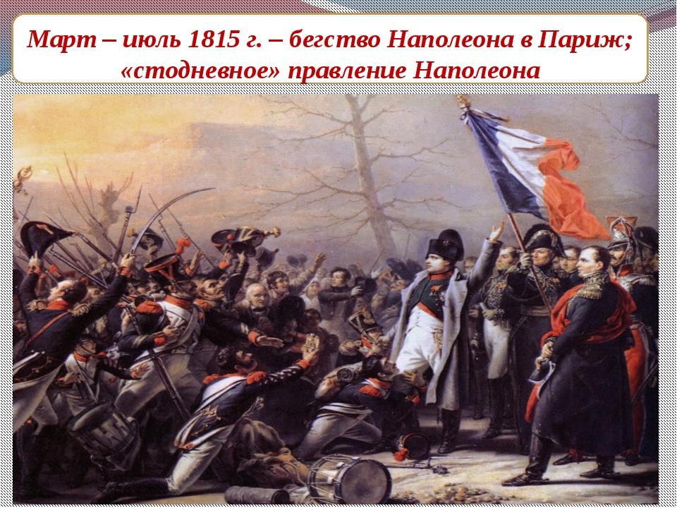 Март – июль 1815 г. – бегство Наполеона в Париж; «стодневное» правление Напол...