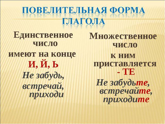 Единственное число имеют на конце И, Й, Ь Не забудь, встречай, приходи Множес...
