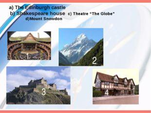 "a) The Edinburgh castle b) Shakespeare house c) Theatre ""The Globe"" d)Mount"