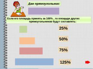 Дан прямоугольник: Если его площадь принять за 100% , то площади других прямо