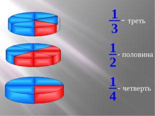 - треть - половина - четверть 3 1 2 1 4 1