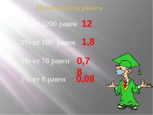 Практическая работа 1% от 1200 равен 1% от 180 равен 1% от 78 равен 1% от 8 р
